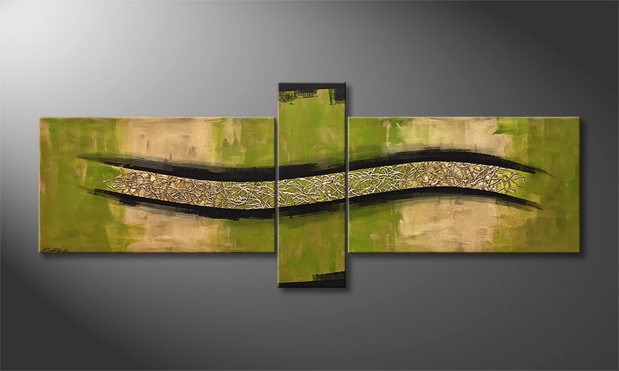 Das Leinwandbild Green Force 230x90x2cm