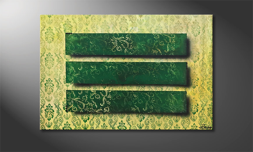 Das Leinwandbild Green Mirrors 120x80x2cm