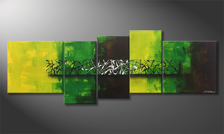 Das Leinwandbild Green Night 190x70cm