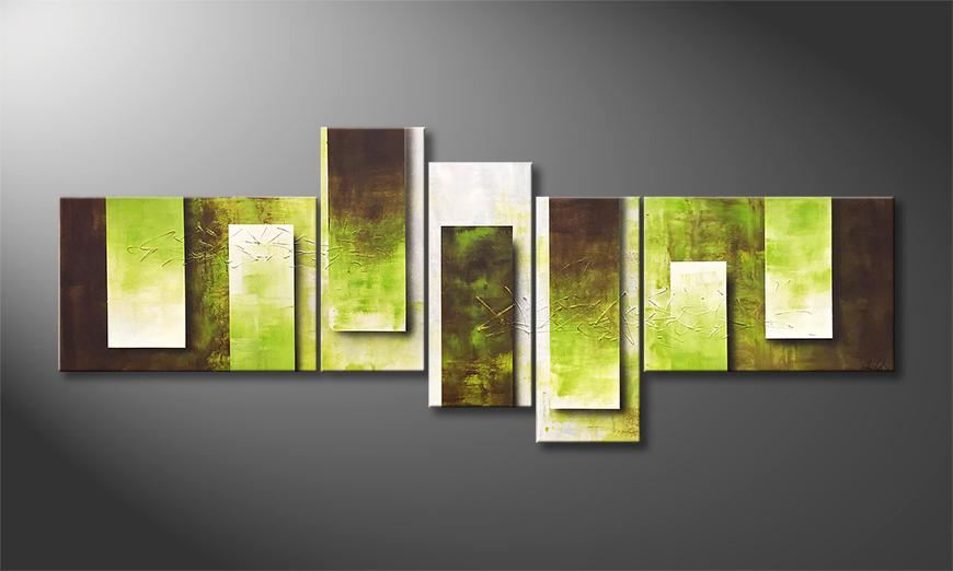 Das Leinwandbild Green Tide 230x90x2cm