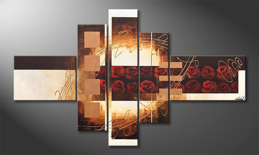 Das Leinwandbild Phantasie Roses 150x90x2cm