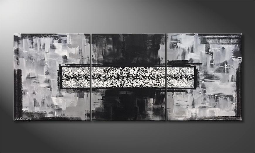 Das Leinwandbild Riven White 180x70x2cm
