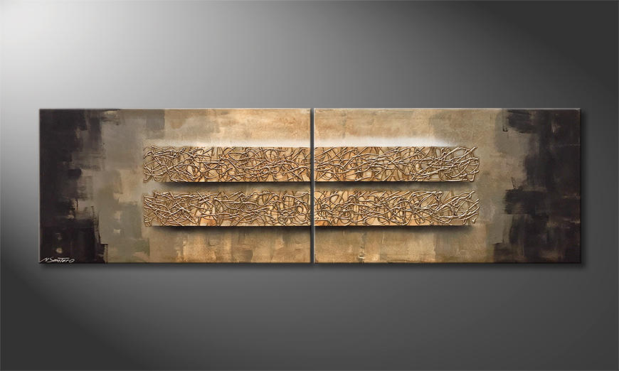 Das Leinwandbild Silver Earth 200x60x2cm