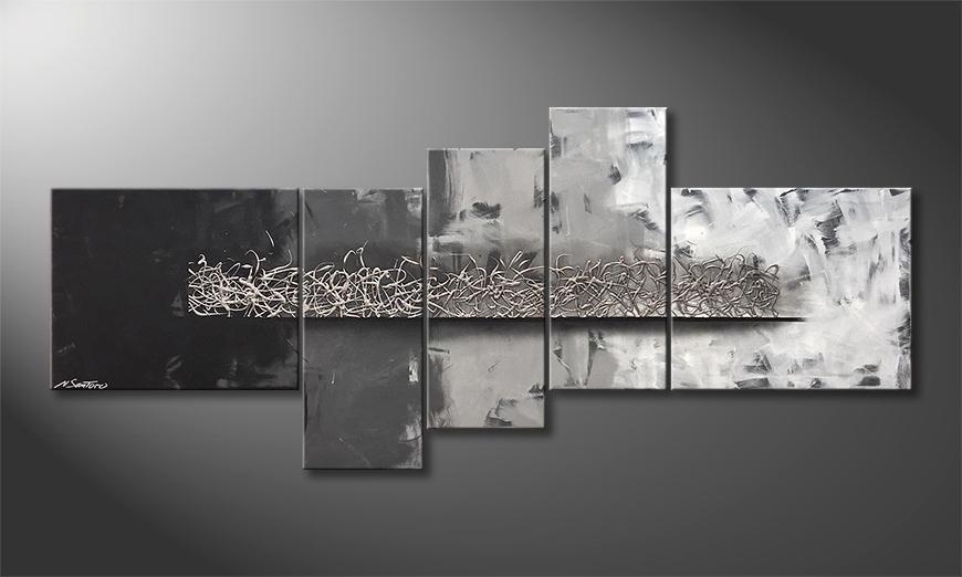Das Leinwandbild Silver Grey 210x90x2cm