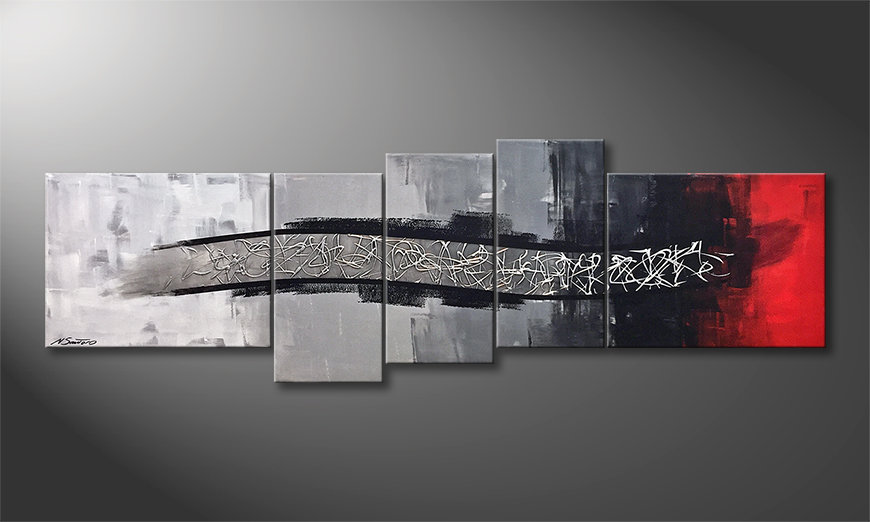 Das Leinwandbild Silver Melody 210x70x2cm