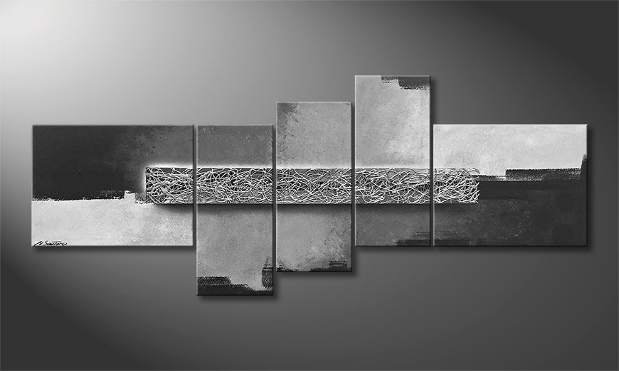 Das Leinwandbild Silver Switch 210x90x2cm