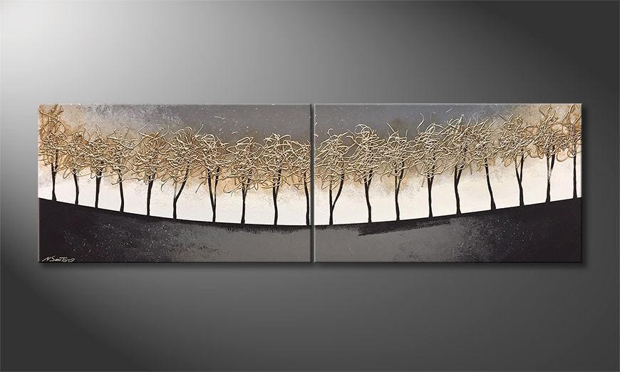 Das Leinwandbild Silver Trees 200x60x2cm