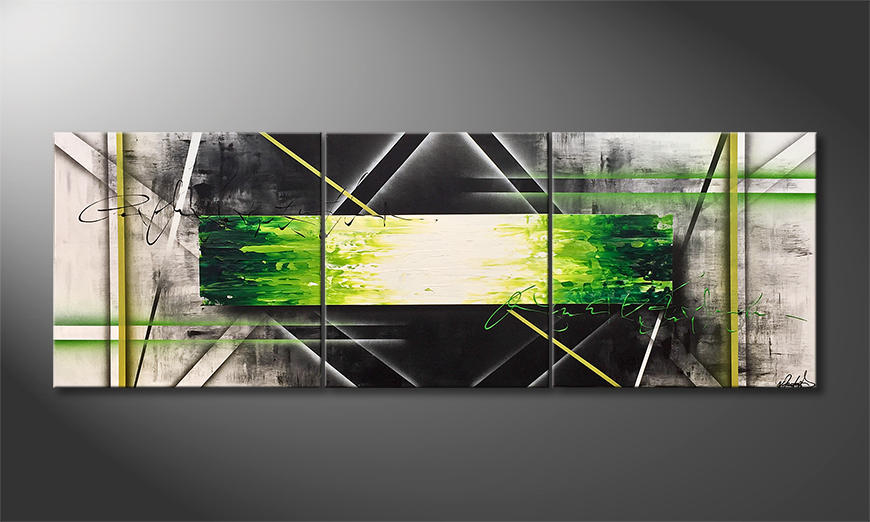 Das Leinwandbild Vision Of Green 200x70x2cm