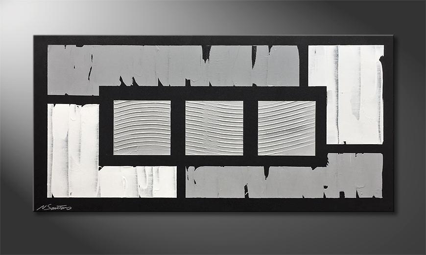 Das Leinwandbild Wavy Silver 120x60x2cm