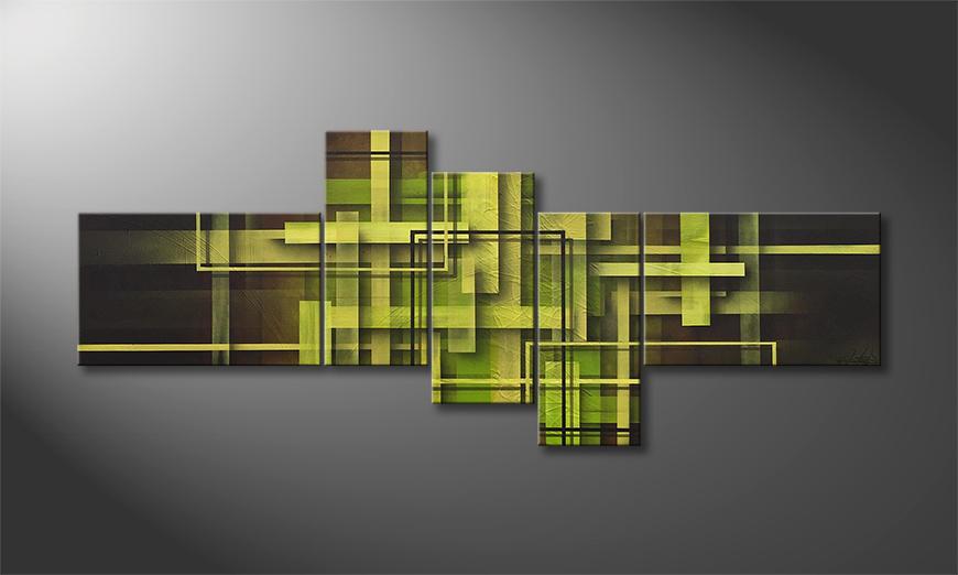 Das Wandbild Flying Green 130x60x2cm