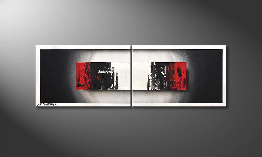 Das Wandbild Glowing Black 120x40x2cm