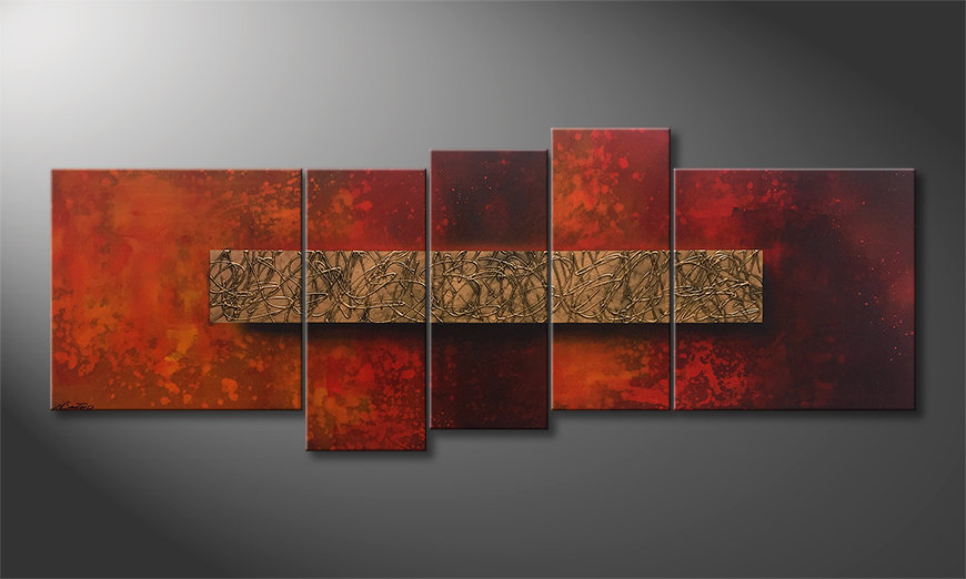 Das Wandbild Golden Glow 210x80x2cm