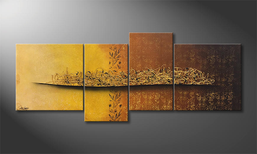 Das Wandbild Golden Nights 200x80x2cm