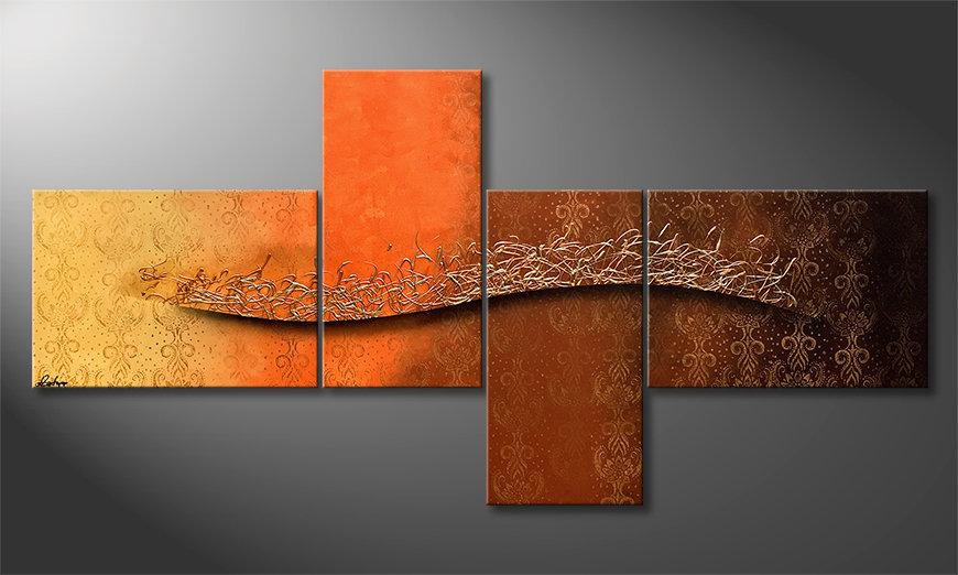 Das Wandbild Golden Whispering 220x110x2cm