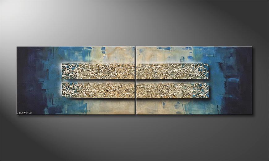 Das Wandbild Lively Silver 200x60x2cm