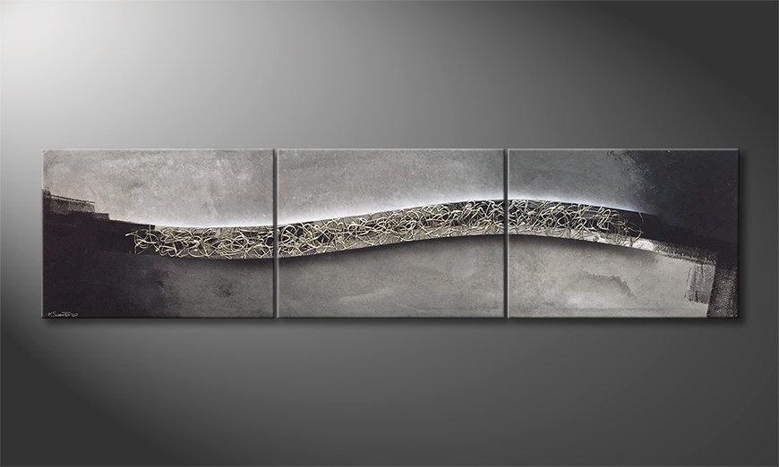 Das Wandbild Mirrored Silver 240x60x2cm