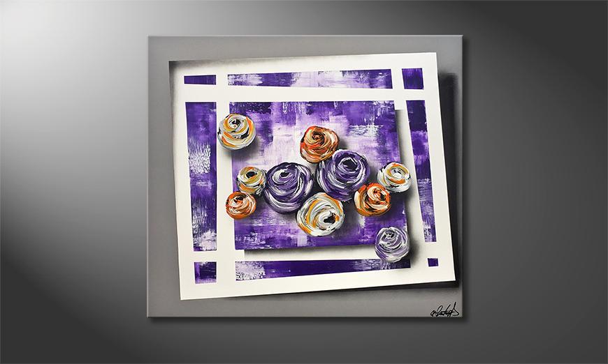 Das Wandbild Purple Roses 90x80x2cm