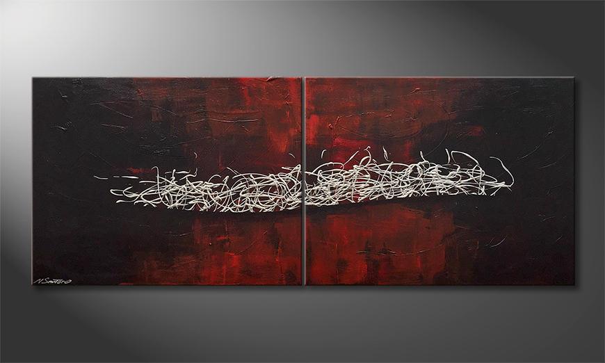Das Wandbild Raging Silver 180x70x2cm