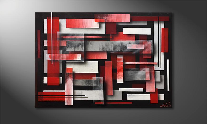 Das Wandbild Red Clouds 100x70x2cm