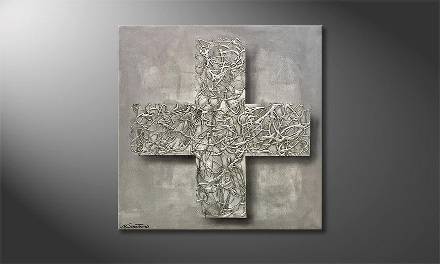 Das Wandbild Silver Cross 80x80x2cm