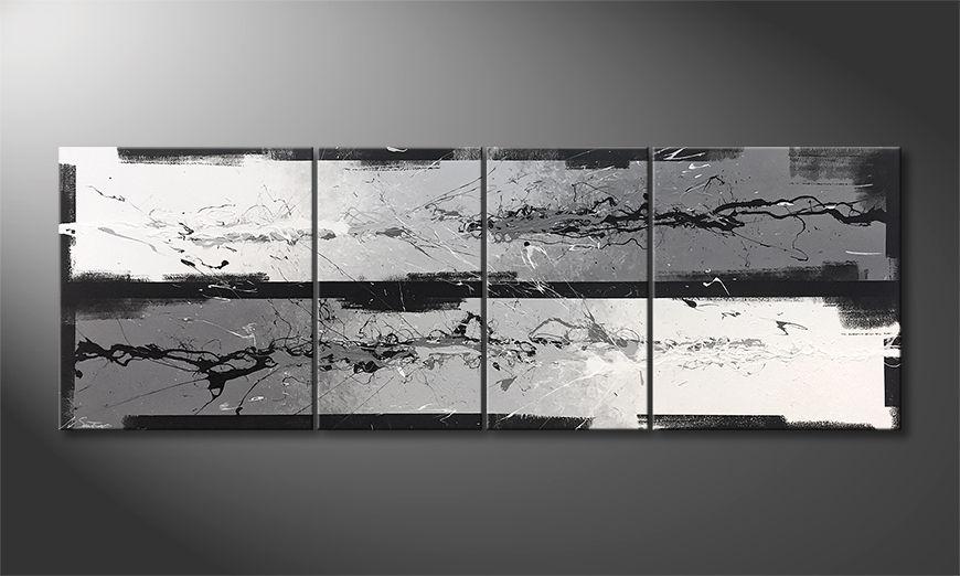 Das Wandbild Silver Flow 200x70x2cm