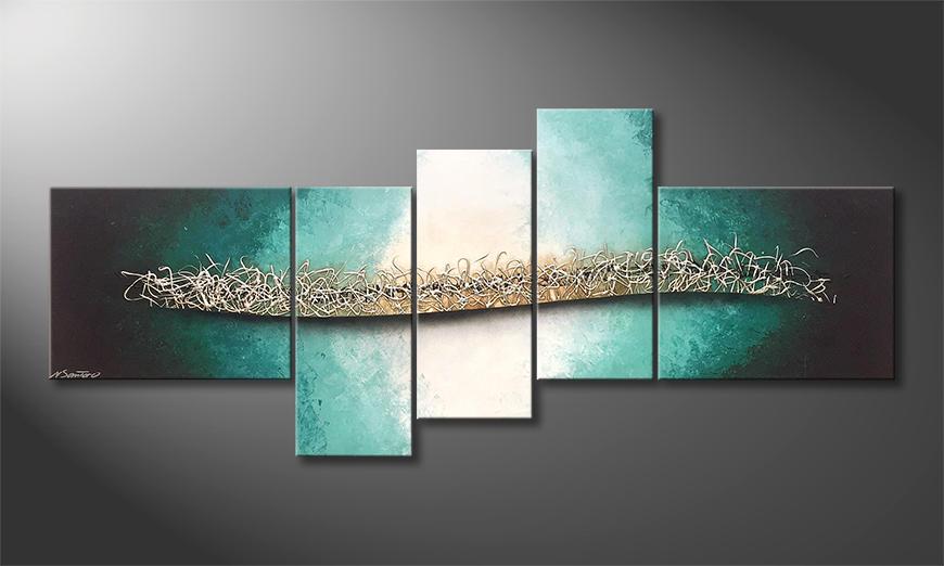Das Wandbild Silver Shoal 210x90x2cm