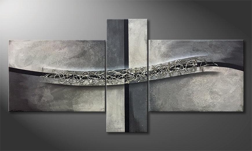 Das Wandbild Swinging Silver 220x110x2cm