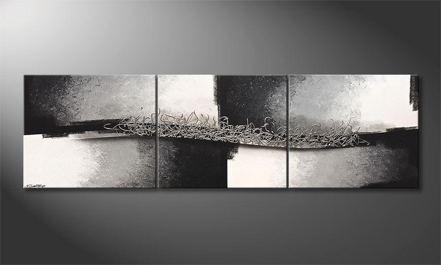 Das Wohnzimmerbild Connecting Silver 240x70x2cm
