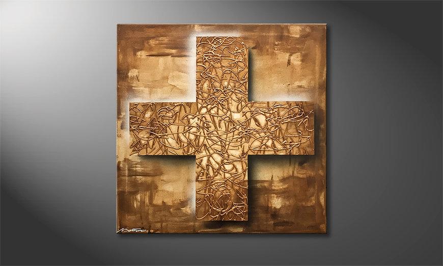 Das Wohnzimmerbild Golden Cross 80x80x2cm