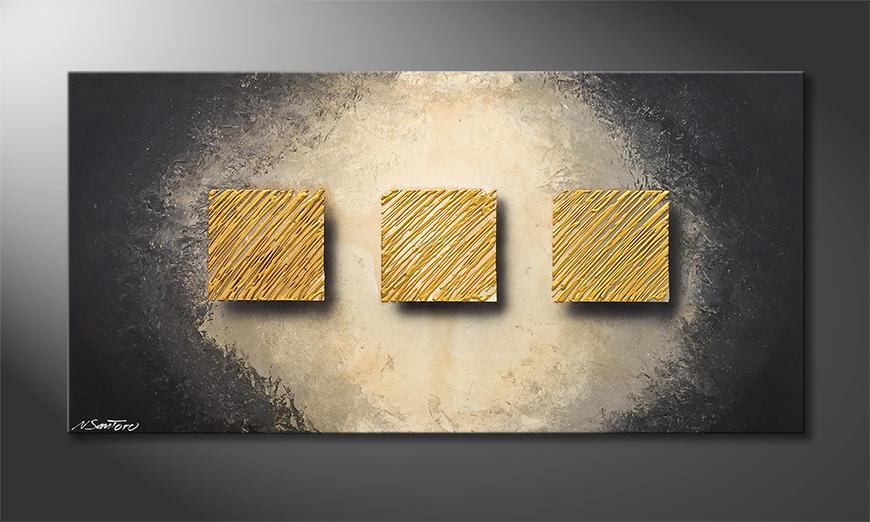 Das Wohnzimmerbild Golden Rain 120x60x2cm