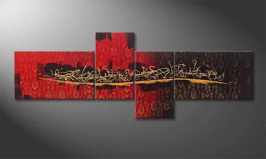 Das Wohnzimmerbild Golden Words 240x90x2cm