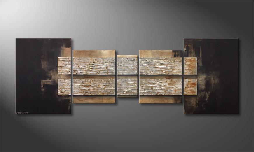 Das Wohnzimmerbild Lost Silver 200x70x2cm