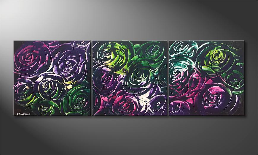 Das Wohnzimmerbild Night Of Roses 180x60x2cm