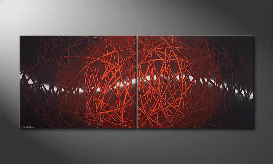 Das Wohnzimmerbild Red Push 2.0 200x80x2cm