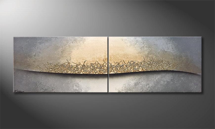 Das Wohnzimmerbild Shinning Silver 200x60x2cm