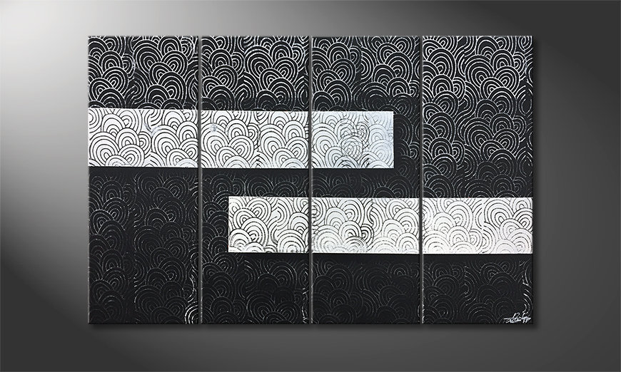 Das Wohnzimmerbild White vs. Black 120x80x2cm