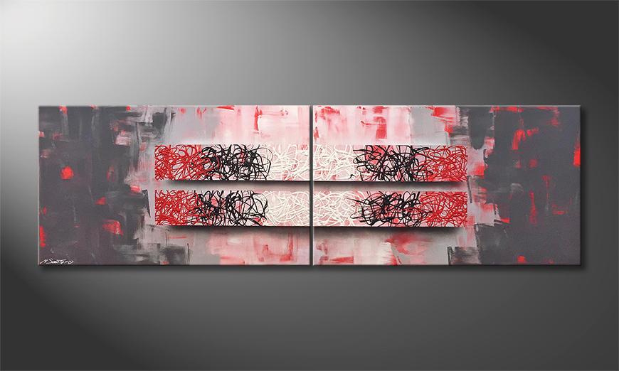 Das exklusive Bild Red Contrast 200x60x2cm