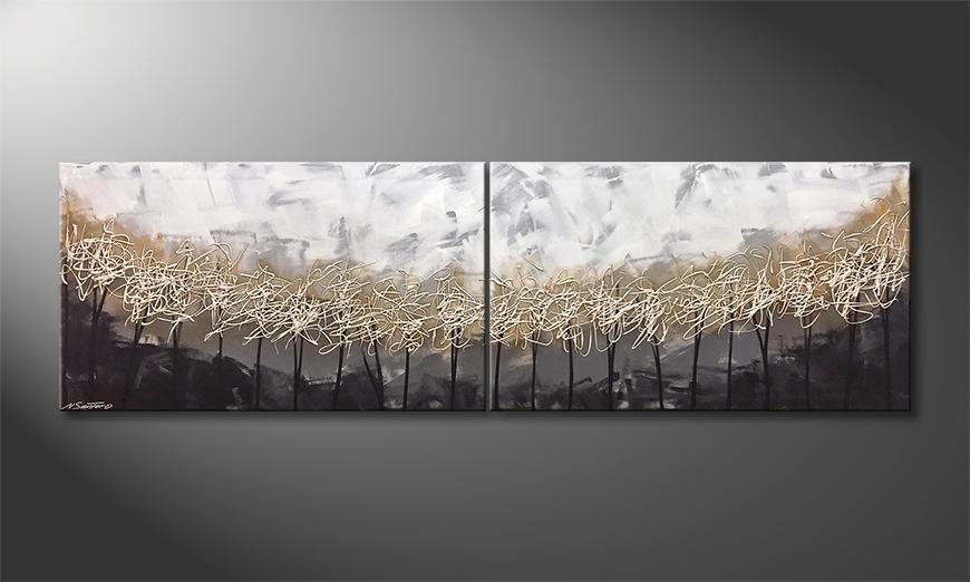 Das exklusive Bild Silver Trees 200x60x2cm