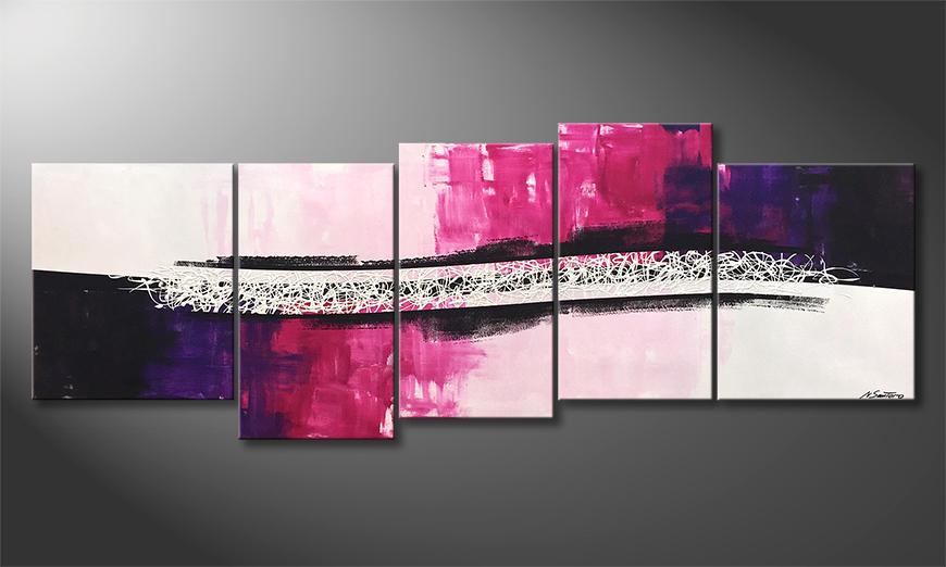 Das moderne Bild Broken Purple 220x80x2cm