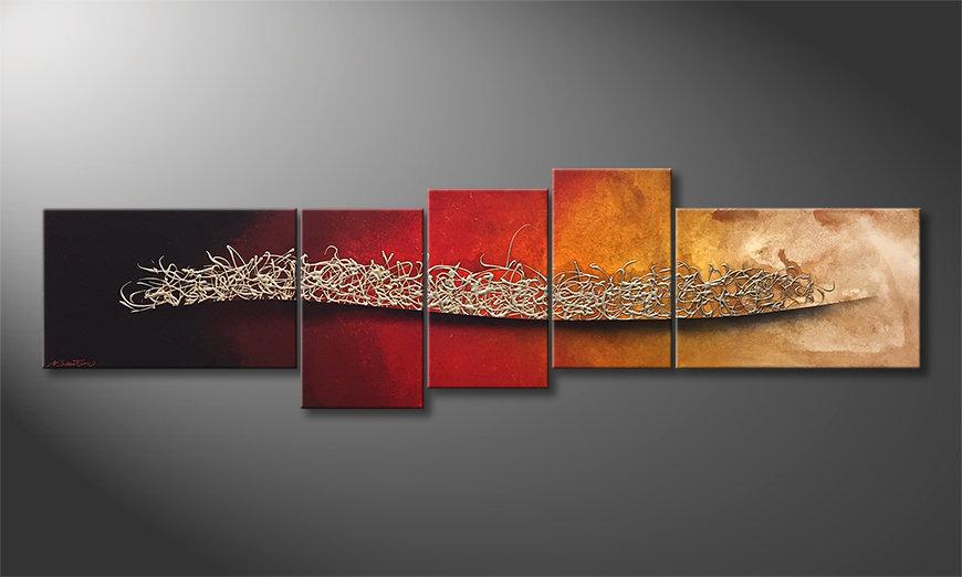 Das moderne Bild Burning Silver 210x60x2cm