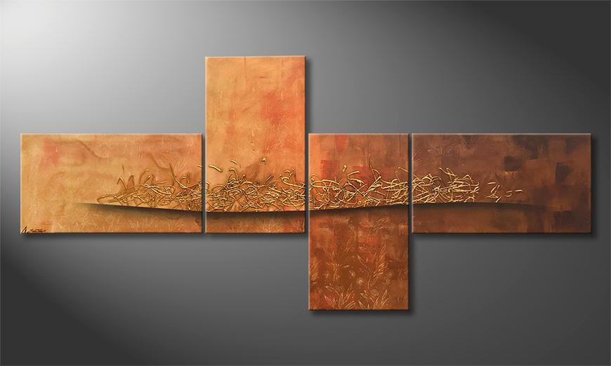 Das moderne Bild Golden Flow 220x100x2cm