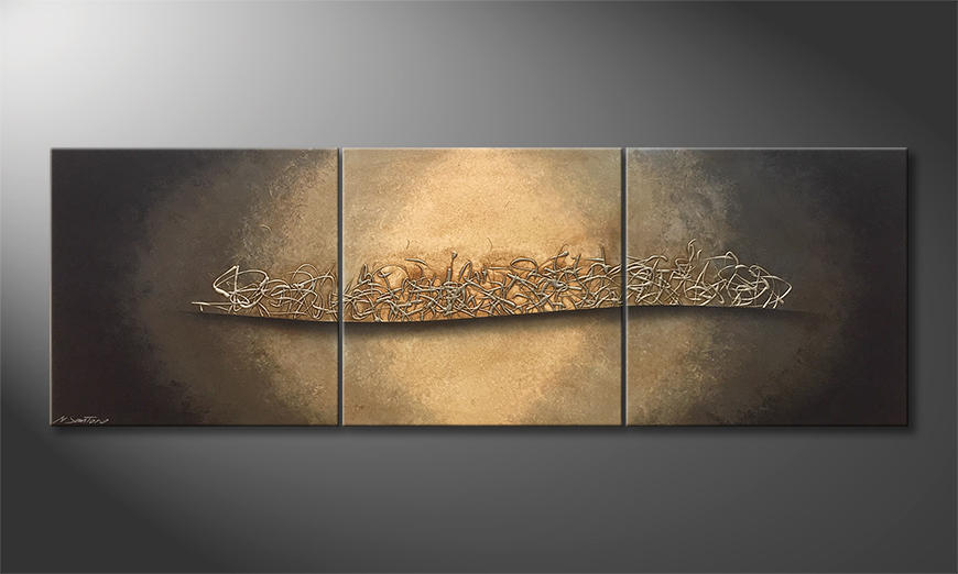 Das moderne Bild Golden Night 210x70x2cm