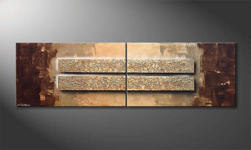 Das moderne Bild Mirrored Silver 200x60x2cm