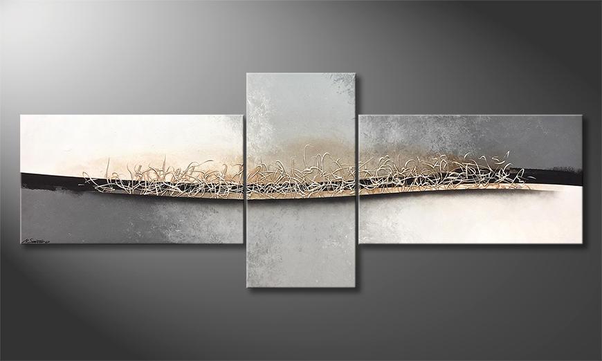 Das moderne Bild Silver Movement 250x100x2cm