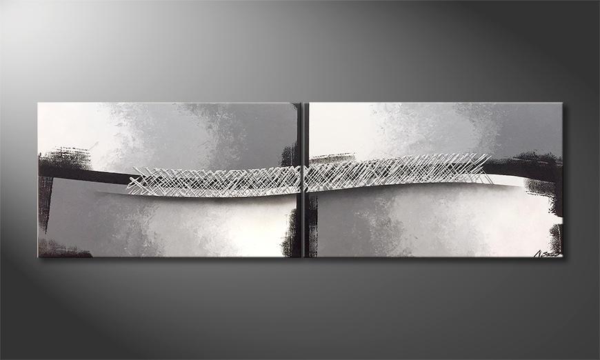 Das moderne Bild Silver Stream 200x60x2cm