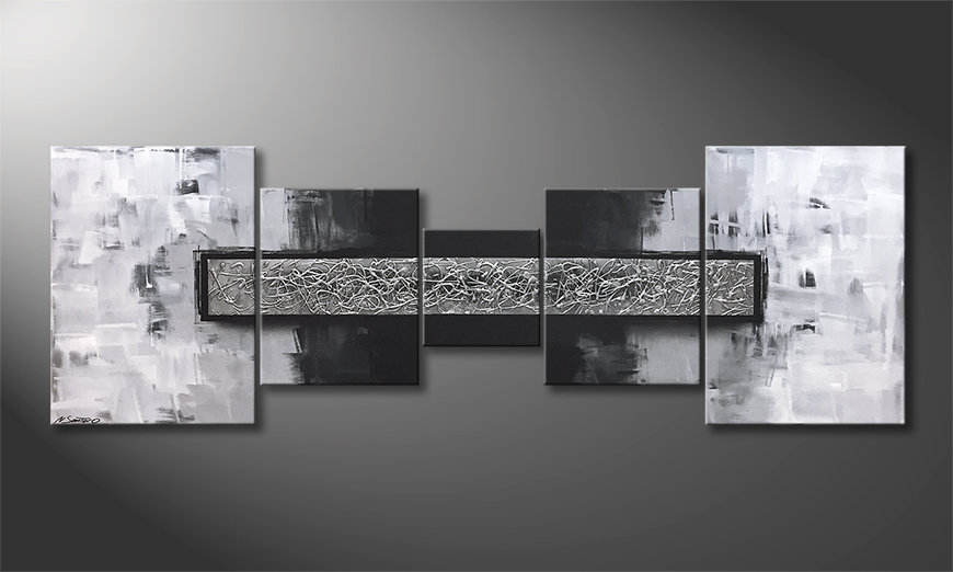 Das moderne Bild Silver Struggle 210x70x2cm