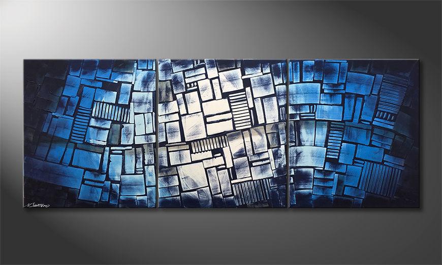 Das moderne Wandbild Blue Wave 180x70x2cm
