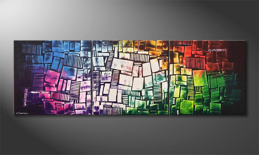 Das moderne Wandbild Brightly Coloured 210x70x2cm