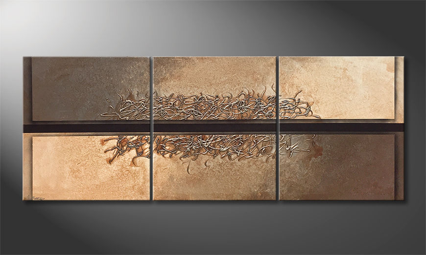 Das moderne Wandbild Divided Silver 180x70x2cm