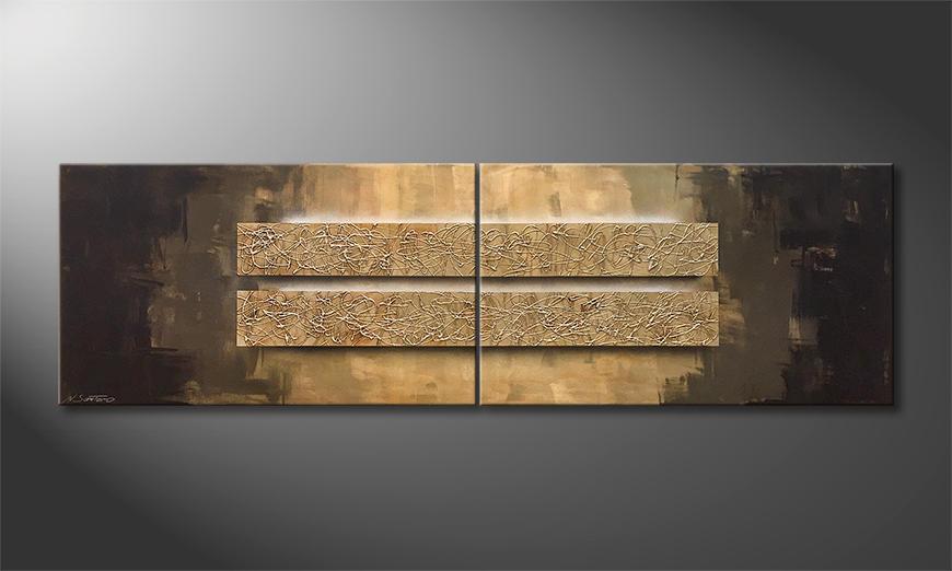 Das moderne Wandbild Golden Shine 200x60x2cm